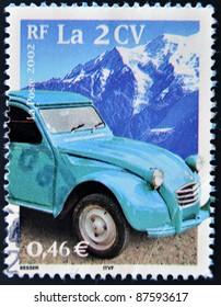 FRANCE - CIRCA 2002: A stamp printed in France shows a Citroen 2cv, circa 2002