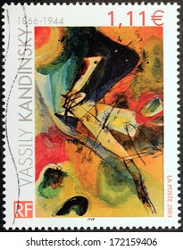FRANCE - CIRCA 2003: A stamp printed by FRANCE shows Abstract Painting by Russian painter and art theorist Vassily Kandinsky, circa 2003