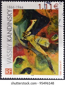 FRANCE - CIRCA 2003: A stamp printed in France shows Painting by Wassily Kandinsky, circa 2003