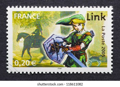 FRANCE - CIRCA 2005: a postage stamp printed in France showing an image of Link a character of The Legend of Zelda video game, circa 2005.