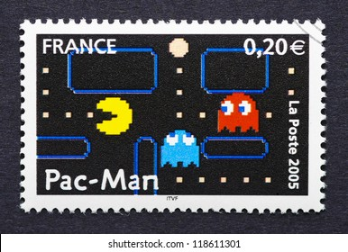 FRANCE - CIRCA 2005: a postage stamp printed in France showing an image of Pac-Man video game, circa 2005.