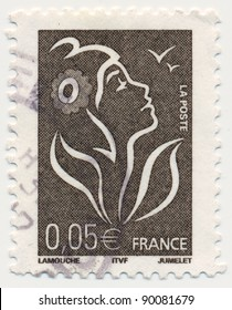 FRANCE - CIRCA 2005: stamp printed by France, shows Marianne, the allegory of the French Republic, circa 2005