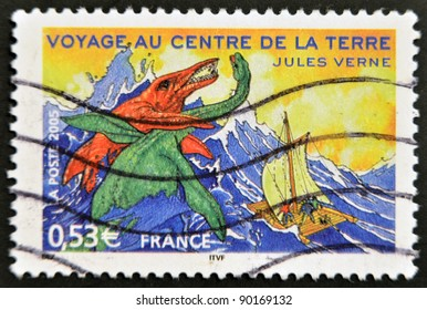 """FRANCE - CIRCA 2005: A stamp printed in France shows an image of """"Journey to the Center of the Earth,"""" a novel by Jules Verne, circa 2005"""