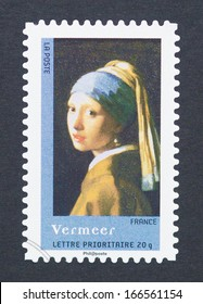 FRANCE - CIRCA 2008: a postage stamp printed in the France showing an image of Girl with a Pearl Earring from Johannes Vermeer circa 2008.