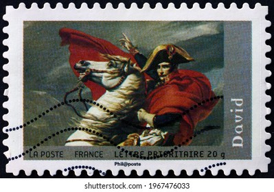 FRANCE - CIRCA 2008: a stamp printed in France shows Bonaparte Crossing the St. Bernard, painting by Jacques-Louis David, French painter, circa 2008
