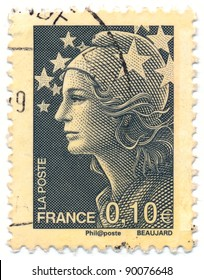 FRANCE - CIRCA 2008: stamp printed by France, shows Marianne, the allegory of the French Republic and Europe Stars, circa 2008