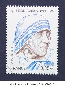 FRANCE - CIRCA 2010: a postage stamp printed in France showing an image of Nobel Peace Prize winner Mother Teresa, circa 2010.