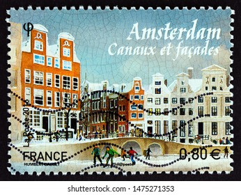 """FRANCE - CIRCA 2016: A stamp printed in France from the """"European Capitals"""" issue shows Amsterdam, circa 2016."""