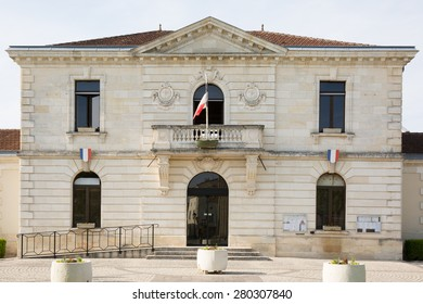 France, city hall in a beautiful town with flag on it