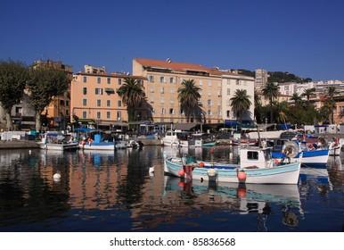 France Corsica Ajaccio harbor and colorful facades of the historic center