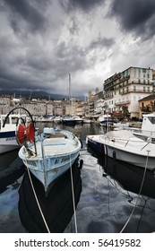 France, Corsica, Bastia, view of the port and the town
