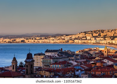 France, Cote D'Azur, Nice city skyline at sunrise, Old Town (Vieille Ville) in the shadow