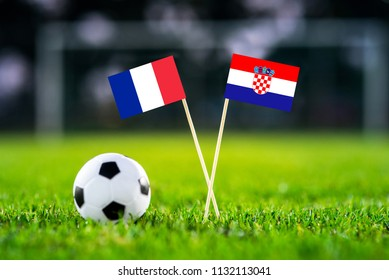 FRANCE and CROATIA national Flag on football green grass. FINAL OF World Cup, Russia 2018