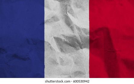 France crumpled paper flag