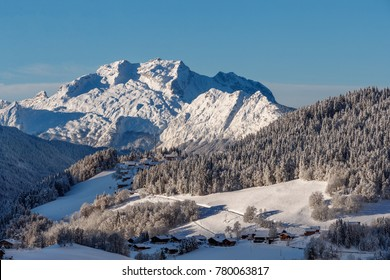 France December 2017, beautiful view on the Tournette mountain in the massif of the Bornes near Annecy and Le Grand Bornand ski resort
