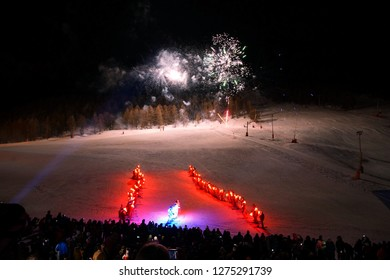 Montgenèvre, France - December 2018:Traditional night ski torchlight procession for new year's eve