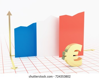 France economy growth bar graph with flag and currency symbol.