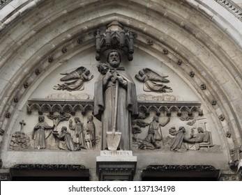 Châteauroux, France. Eglise Notre Dame de Chateauroux, detail. Portal, upper half with the saint name Fiacrius.