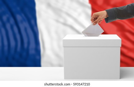 France elections. Voter on an waiving France flag background. 3d illustration