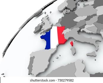 France with embedded flag on globe. 3D illustration.