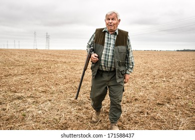 FRANCE, EURE-ET-LOIRE, SEPTEMBER 22, 2013: An old peasant hunt hares and pheasants in the reaped fields. In the accidents of the 2012-2013 hunting season, 57 persons are dead.