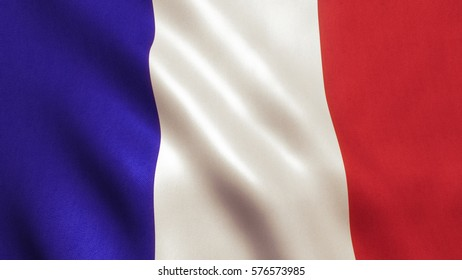 France flag background with fabric texture.