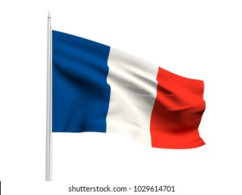 France flag floating in the wind with a White sky background. 3D illustration.