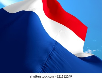 France flag. French symbol design with blue sky background. Blue, white and red flag. 3D Flag of France.Sovereign French symbol of France country in official colors.European flags region.