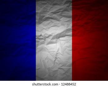 France flag on a grunge paper background