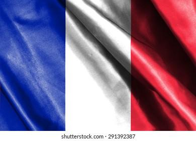 France flag on soft and smooth silk texture