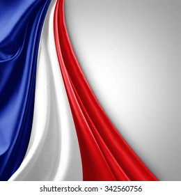 France flag of silk  with copyspace for your text or images