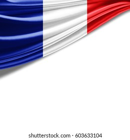 France flag of silk with copyspace for your text or images and white background-3D illustration