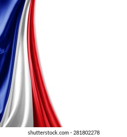 France  flag of silk and white background