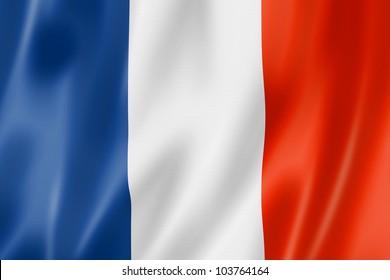 France flag, three dimensional render, satin texture
