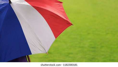 France flag umbrella. Close up of printed umbrella over green grass lawn / field. Rainy weather forecast concept.