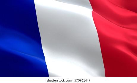 France flag. Waving colorful France flag