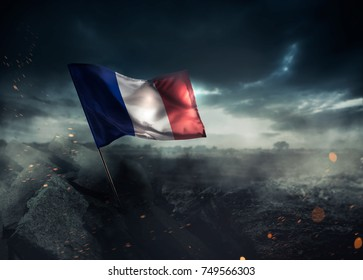 France flag waving with hope after a disaster. / high contrast image