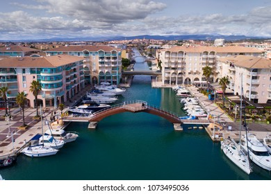 France, Frejus, March, 11 - 2018, Aerial of Frejus Harbor in the South of France, Cote d'Azur, Var,