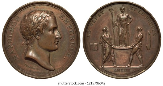 France French 19th century medal, subject Senat and People support of Napoleon, laureate head right,  two men supporting platform with Napoleon standing on it,