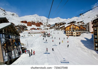 France, French Alps, Tarentaise Valley, Savoie. Val Thorens is located in the commune of Saint-Martin-de-Belleville in the Savoie departement, March 10, 2017
