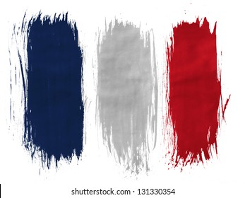 France. French flag  painted with 3 vertical  brush strokes on white background