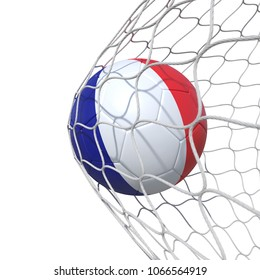 France French flag soccer ball inside the net, in a net. Isolated on white background. 3D Rendering, Illustration.