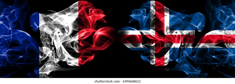 France, French, Iceland, Icelandic competition thick colorful smoky flags. European football qualifications games