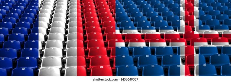 France, French, Iceland, Icelandic, flip stadium seats concept. European football qualifications games.