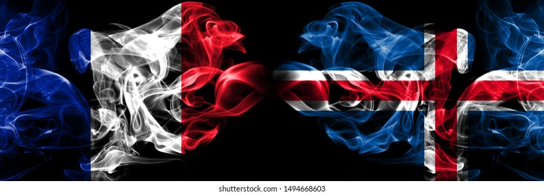 France, French, Iceland, Icelandic, flip competition thick colorful smoky flags. European football qualifications games