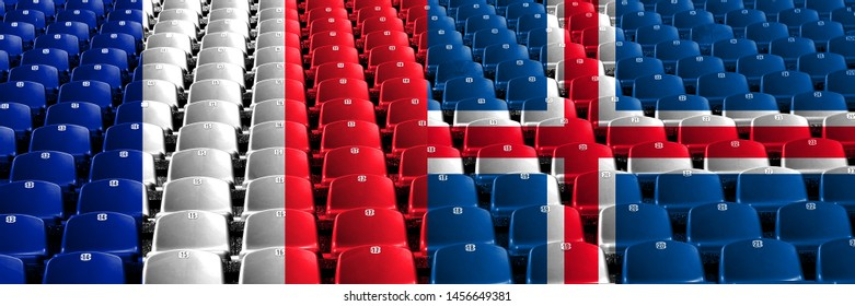 France, French, Iceland, Icelandic stadium seats concept. European football qualifications games.