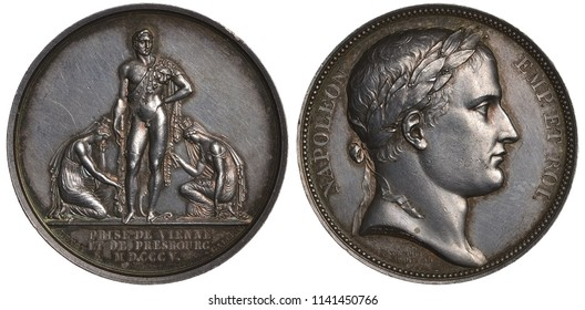 France French medal mid 19th century, subject Conquering Cities of Vienna and Pressburg (Bratislava) by Napoleon in 1805, two kneeling female figures holding keys, Napoleon as ancient hero in center,