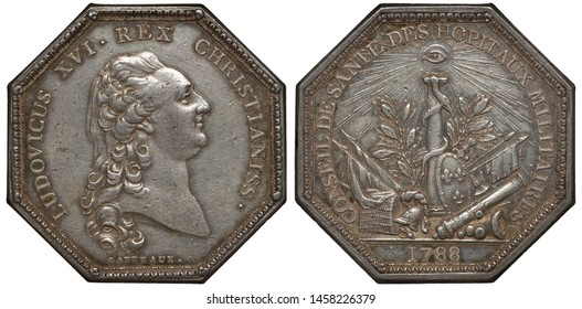 France French octagonal silver medal 1788, medal from Military Hospitals Health Board, head of King Louis XVI right, column with snake among military paraphernalia