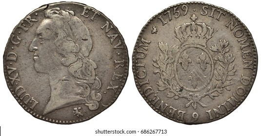 France French silver coin 1 one ecu 1759, laureate head of King Louis XV left, crowned oval shield with three lilies flanked by olive branches, circulation wear,