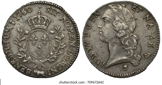 France French silver coin 1 one ecu 1760, oval shield with lilies flanked by sprigs, crown above, mint mark cow below, head of King Louis XV, mint mark tulip below,